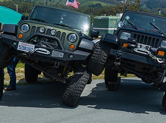 Jeeps on display