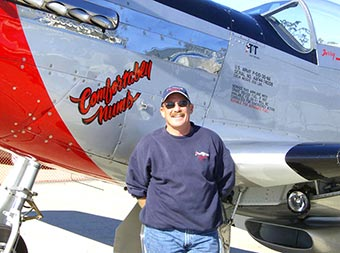 Terry Tarditi with his P-51 named Comfortably Numb