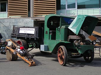 Roots of Motive Power's 1926 Mack model AC dump truck