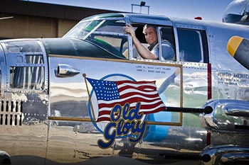 "B-25 Bomber ""Old Glory"" with owner/pilot John Ward"