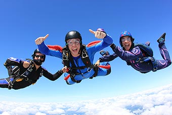 skydiving trio