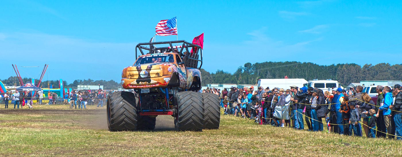 monster truck rides at the Pacific Coast Dream Machines show